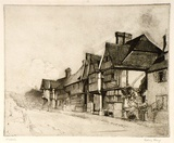 Artist: LONG, Sydney | Title: Old houses, Chiddingstone | Date: 1919 | Technique: line-etching and aquatint, printed in brown ink, from one copper plate | Copyright: Reproduced with the kind permission of the Ophthalmic Research Institute of Australia