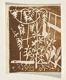 Title: Card: [garden] | Technique: linocut, printed in brown ink, from one block