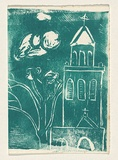 Title: Card: [church and tree] | Technique: linocut, printed in green ink, from one block