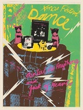 Artist: MACKAY, Jan | Title: Xmas Festival Dance - at the Settlement. Mental as Anything and Jack of Hearts. | Date: 1977 | Technique: screenprint, printed in colour, from six stencils