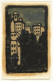 Artist: CROMBIE, Peggy | Title: T and G Building. | Date: 1925 | Technique: linocut, printed in colour, from multiple blocks