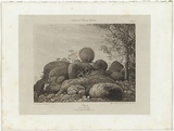 Title: Yauan. Granite boulders 45 miles N by W of Melbourne. | Date: 1855-56 | Technique: etching, engraving and lavis, printed in black ink, from one copper plate