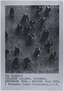 Artist: MADDOCK, Bea | Title: Exhibition poster: Bea Maddock, Solander Gallery, Canberra, September 28th - October 10th | Date: 1974 | Technique: screenprint