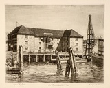 Artist: LINDSAY, Lionel | Title: Old commissariat stores, Circular Quay. | Date: 1912 | Technique: etching, printed in warm black ink with plate-tone, from one plate | Copyright: Courtesy of the National Library of Australia