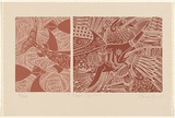 Title: Ocean spirits. | Date: c.1996 | Technique: linocut, printed in [2] brown inks, from one block each