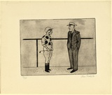 Artist: BRACK, John | Title: Jockey and trainer. | Date: 1956 | Technique: etching, printed in black ink with plate-tone, from one copper plate | Copyright: © Helen Brack