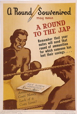Artist: KELLY, Harry | Title:  A round souvenired may mean a round to the Japs. | Date: c.1942 | Technique: photo-lithograph, printed in colour, from multiple plates