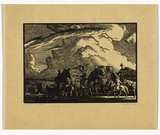 Artist: MAHONEY, Will | Title: Caravans | Date: 1931 | Technique: wood-engraving, printed in black ink, from one block