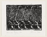 Title: Years as trolleys. | Date: 1999 | Technique: linocut, printed in black ink, from one block