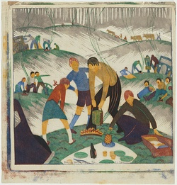 Artist: SPOWERS, Ethel | Title: Bank holiday. | Date: 1935 | Technique: linocut, printed in colour, from six blocks (yellow ochre, cobalt blue, reddish brown, green, grey, black)
