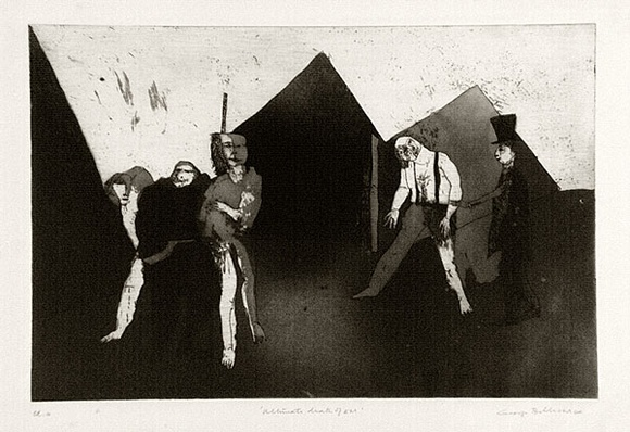 Artist: BALDESSIN, George | Title: Ultimate death of E.M. | Date: 1964 | Technique: etching and aquatint, printed in black ink, from one plate