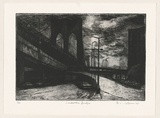 Artist: AMOR, Rick | Title: Under the bridge. | Date: 1998 | Technique: etching, printed in black ink, from one plate