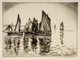 Artist: HAYLEY-LEVER, Richard | Title: Underway | Date: 1930s | Technique: etching, printed in black ink, from one plate