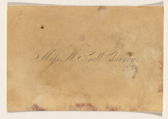 Title: Calling card: Miss M Snell Chauncy | Date: c.1840-49 | Technique: engraving, printed in black ink from one plate