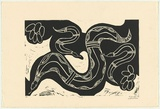 Artist: WARRADOO, Geoffrey | Title: Yangki | Date: 1997, July | Technique: linocut, printed in black ink, from one block