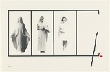 Artist: URBANICK, Louise | Title: Untitle (Rectangles containing figures of women) | Date: 1977 | Technique: screenprint, printed in colour, from multiple stencils