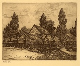 Artist: STOCKFELD, R.H. | Title: Captain Cooks cottage | Date: c.1935 | Technique: etching, printed in black ink, from one plate