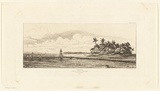 Artist: MERYON, Charles | Title: Oceanie: Ilots à Uvea (Wallis): Pêche aux palmes 1845 (Oceania: Islets at Ouvea (Wallis), Fishing with palm trees) | Date: 1863 | Technique: etching, printed in warm black ink, from one plate