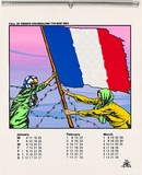 Artist: CALLAGHAN, Michael | Title: Calendar: Australian Vietnam Society 1982 Jan-March  (Fall of French colonialism 7th May 1954) | Date: 1982 | Technique: screenprint, printed in colour, from seven stencils