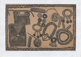 Artist: MUNGATOPI, Maryanne | Title: Objects used in Kulama ceremony | Date: 2000, March | Technique: aquatint, printed in black and cream, from two plates
