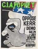 Artist: CHARLTON, Colin | Title: C.I.A. puppet. Oppose Kerr demo. | Date: 1976 | Technique: screenprint, printed in colour, from four stencils