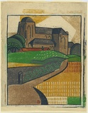 Artist: BLACK, Dorrit | Title: Old church, Veere. | Date: c.1933 | Technique: linocut, printed in colour, from six blocks