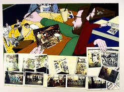 Artist: LATIMER, Bruce | Title: New York print | Date: 1977 | Technique: screenprint, printed in colour, from multiple stencils; with collage of photocopy printed in colour | Copyright: © Bruce Latimer