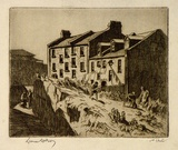 Artist: LINDSAY, Lionel | Title: Old houses built by Lang's masons, Miller's Point, The Rocks, Sydney | Date: 1936 | Technique: etching, printed in brown ink with plate-tone, from one plate | Copyright: Courtesy of the National Library of Australia