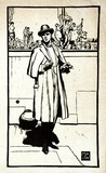 Artist: WALLER, M. Napier | Title: The man in black. | Date: 1925 | Technique: linocut, printed in colour, from multiple blocks
