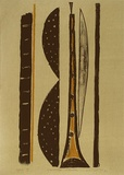 Artist: LINCOLN, Kevin | Title: Yellow flute | Date: 1991 | Technique: lithograph, printed in colour, from two stones