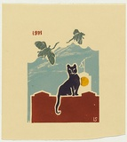 Title: not titled [cat sitting on wall with flying mice] | Date: 1981 | Technique: linocut, printed in colour, from five blocks