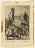 Artist: CROSSKELL, Ben | Title: Captain Cook's cottage, Melbourne. | Date: c.1936 | Technique: etching, printed in black ink with plate-tone, from one plate