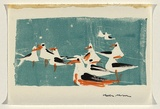Title: Card: [gulls] | Date: c.1954 | Technique: linocut, printed fromone block; hand-coloured in felt tip pens