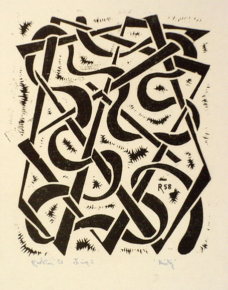 Artist: Hawkins, Weaver. | Title: Unity | Date: 1958 | Technique: linocut, printed in black ink, from one block | Copyright: The Estate of H.F Weaver Hawkins