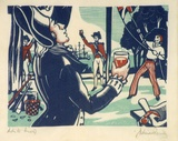 Artist: FEINT, Adrian | Title: (Captain Cook and the raising of the flag at [Botany Bay?]. | Date: c.1940 | Technique: linocut, printed in colour, from multiple blocks | Copyright: Courtesy the Estate of Adrian Feint