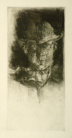 Artist: EVERGOOD, Miles | Title: Self Portrait. | Date: c.1930 | Technique: etching, printed in black ink, from one plate