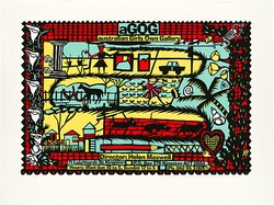 Artist: REDBACK GRAPHIX | Title: aGOG: Australian Girls Own Gallery. | Date: 1989 | Technique: screenprint, printed in colour, from four stencils