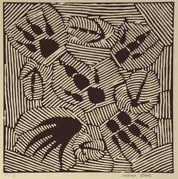 Artist: STREET, Mervyn | Title: not titled [stylised animal tracks] | Date: 1996, January - February | Technique: linocut, printed in black ink, from one block