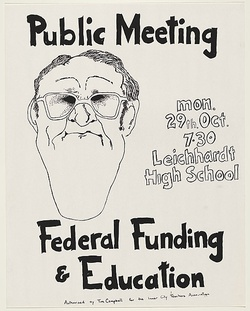 Artist: UNKNOWN | Title: Public meeting /Federal funding & education | Date: 1979 | Technique: screenprint, printed in black ink, from one stencil