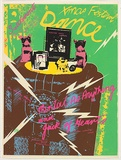 Title: Xmas Festival Dance - at the Settlement. Mental as Anything and Jack of Hearts. | Date: 1977 | Technique: screenprint, printed in colour, from six stencils