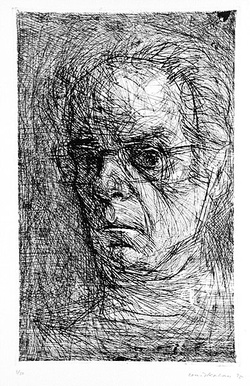 Artist: KAHAN, Louis | Title: Self-portrait | Date: 1975 | Technique: etching, printed in brown ink, from one plate | Copyright: © Louis Kahan. Licensed by VISCOPY, Australia
