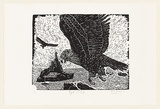 Artist: GILBERT, Kevin | Title: Eagles at bay | Date: 1967 | Technique: linocut, printed in black ink, from one block