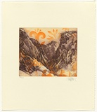 Title: Valley near Kato Zakro | Date: 1991 | Technique: etching, printed in blue and orange ink, from one plate