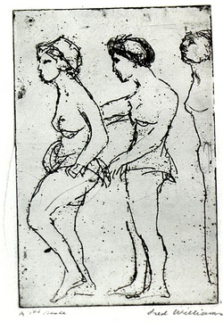 Artist: WILLIAMS, Fred | Title: Chorus girls | Date: 1955-56 | Technique: etching, aquatint and drypoint, printed in black ink, from one zinc plate | Copyright: © Fred Williams Estate