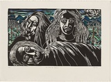 Title: A family affair | Date: 1996 | Technique: linocut, printed in black ink from one block; hand-coloured