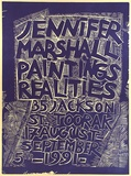Artist: MARSHALL, Jennifer | Title: Jennifer Marshall paintings realities. 35 Jackson St Toorak, 17 August -  September 5th 1991 | Date: 1991 | Technique: linocut, printed in purple ink, from one block