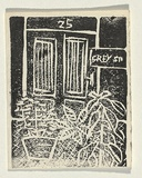 Title: Card: [25 Grey St] | Technique: linocut, printed in black ink, from one block