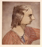 Artist: STORRIER, Tim | Title: A suspicious self-portrait | Date: 1976 | Technique: etching, printed in black ink, from one plate; hand-coloured | Copyright: © Tim Storrier