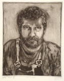Artist: DICKSON, Clive | Title: Self-portrait | Date: 1985 | Technique: etching and aquatint, printed in sepia ink (small amount of black ink added), from one plate