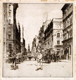 Artist: WARNER, Ernest | Title: York Street, Sydney | Date: 1922 | Technique: etching, printed in warm black ink with plate-tone, from one plate